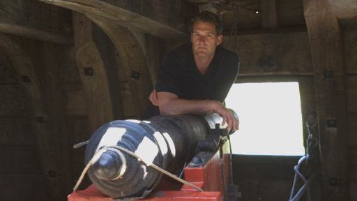 Dan Snow with a cannon