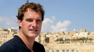 Dan Snow aboard yacht in Valetta Harbour.