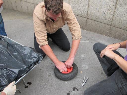 Dan fixing a tyre