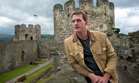 Dan Snow at Conwy Castle in Wales. Photograph: Howard Barlow for the Observer